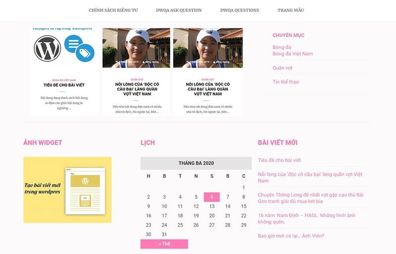 Tìm hiểu về widget và cách chèn widget vào website.