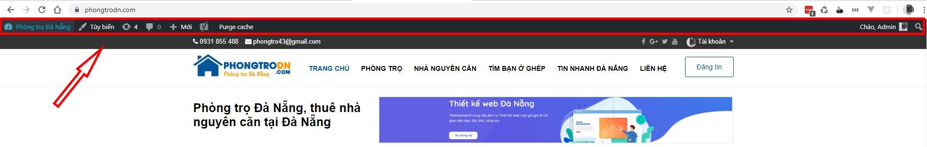Hiển thị admin bar trong wordpress