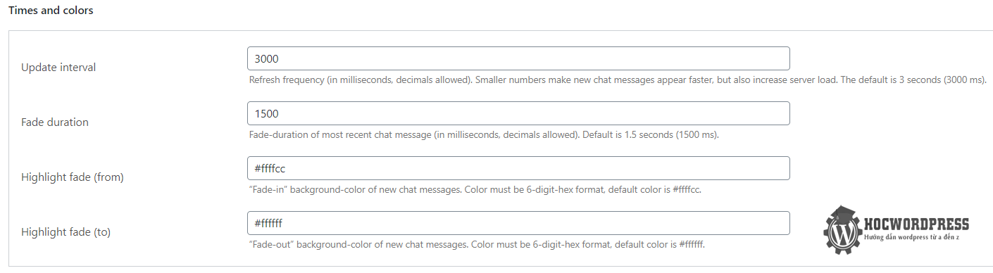 chat room wordpress màu sắc