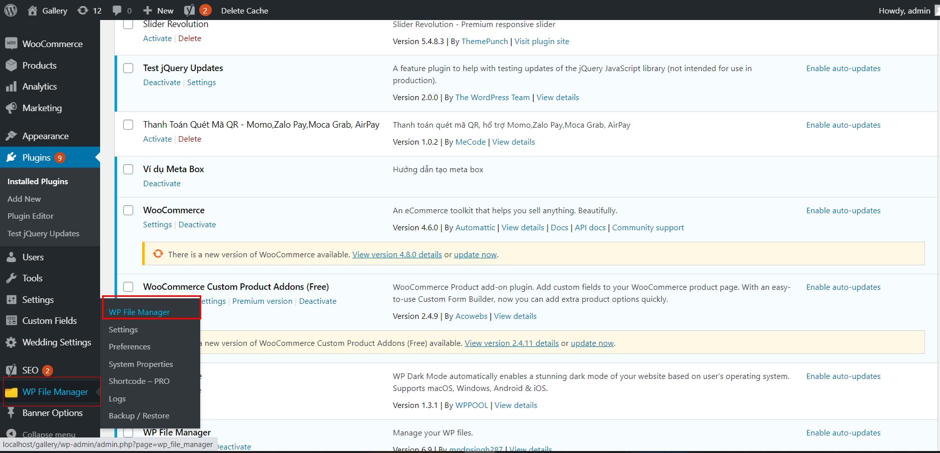 cài đặt plugin quản lí file