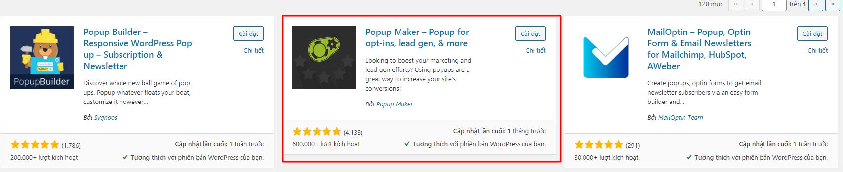 cài đặt popup maker