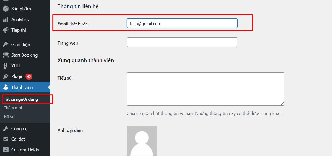 đổi email wp